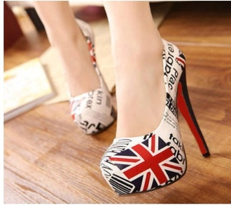 shoes british flag pumps white red blue