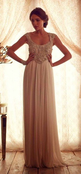 dress cream dress jeweled halter neck top long prom dresses