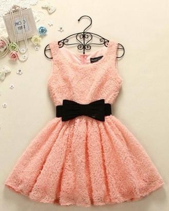 dress coral dress pink dress bow dress