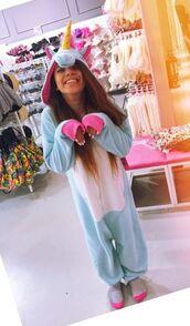 jumpsuit,unicorn,onesie,unicorn onesie,adelaine morin,cookie monster,yellow,blue unicorn kigurumi,youtuber,pajamas,pink unicorn onesies