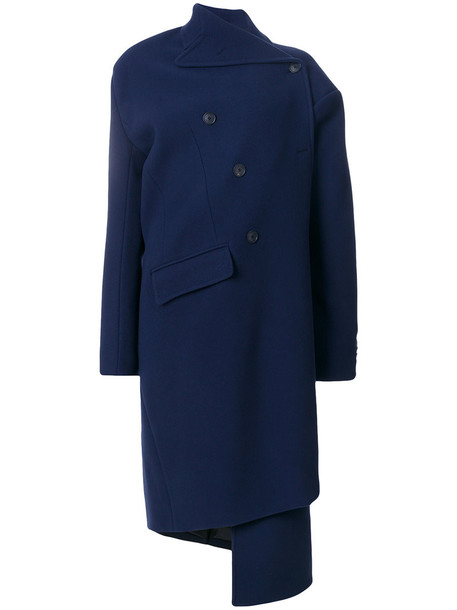 Balenciaga coat double breasted women cotton blue wool