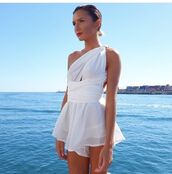 romper,white,silk,cut-out,wrap,tie,prom,formal,formal dress