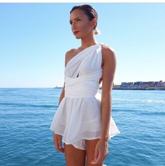 romper white silk cut out wrap tie prom formal formal dress