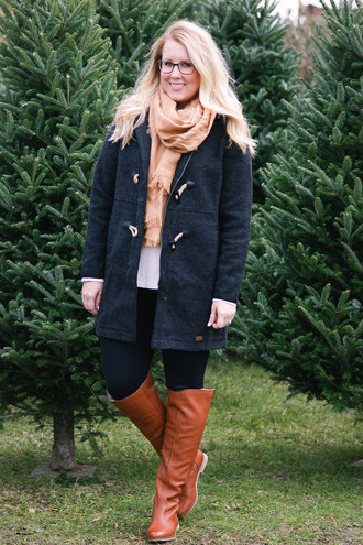 franish blogger coat sweater pants shoes scarf winter outfits knee high boots brown boots
