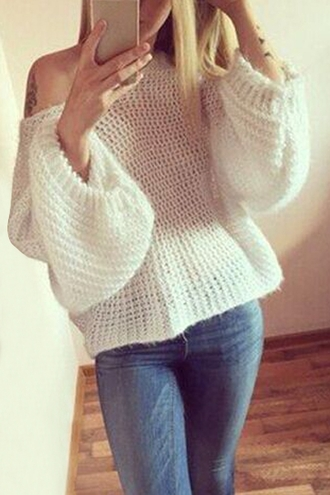 sweater white long sleeves knitwear cute off the shoulder fall outfits warm cozy trendy winter outfits stylish clothes casual cool