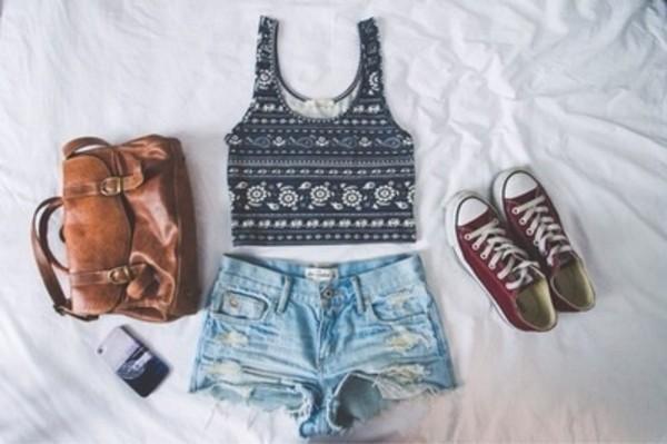 tank top black and white top shorts bag bag summer shoes