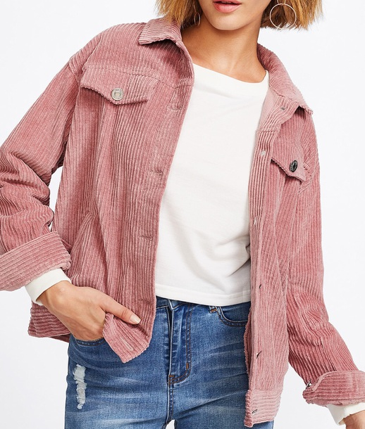 jacket girly pink button up corduroy corduroy fashion