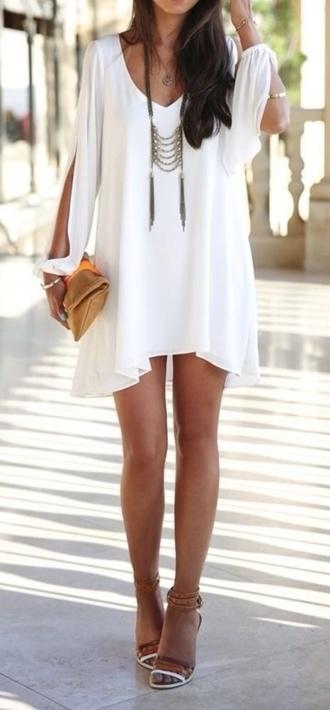 dress white dress sun dress flowy dress long sleeve dress