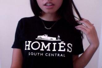t-shirt black t-shirt homies la shirt black white homies south central streetwear urban south central
