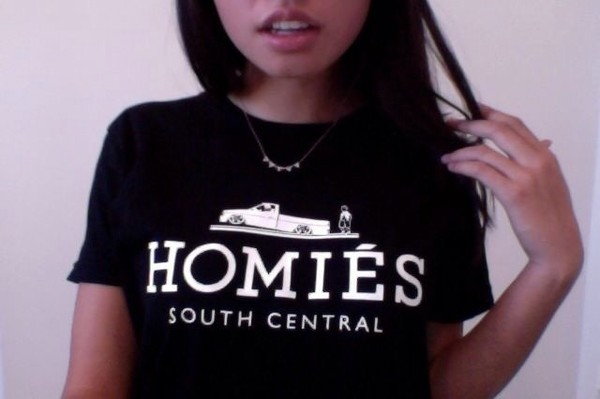 t-shirt black t-shirt homies la shirt black white homies south central streetwear urban south central