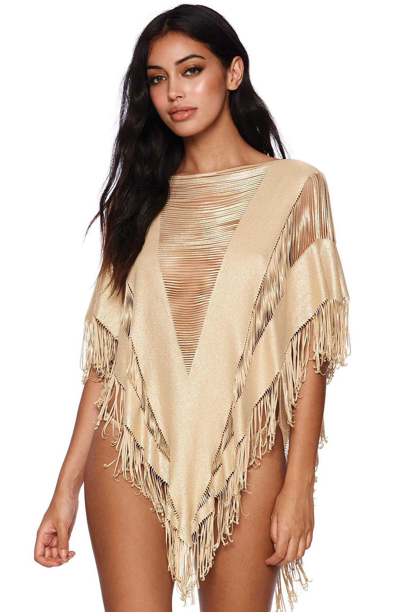 Indian Summer Poncho in Gold