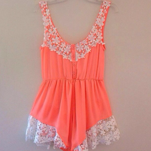 Coral frill playsuit