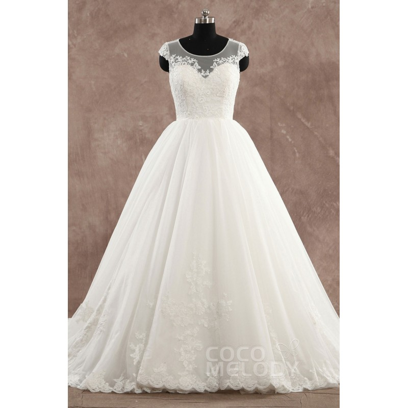Vintage Princess Illusion Natural Court Train Tulle Ivory Cap Sleeve Zippon with Button Wedding Dress with Appliques - Top Designer Wedding Online-Shop