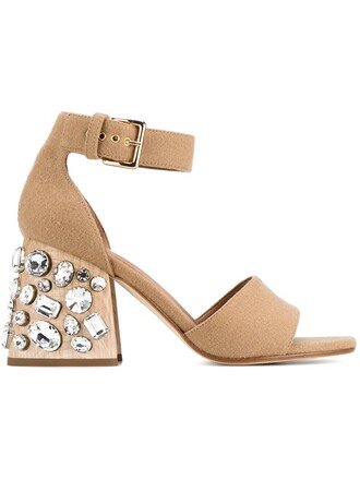heel studded sandals brown shoes