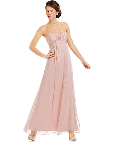 6534ec41b3dcd7 Adrianna Papell Sleeveless Floral-Applique Gown - Dresses - Women ...