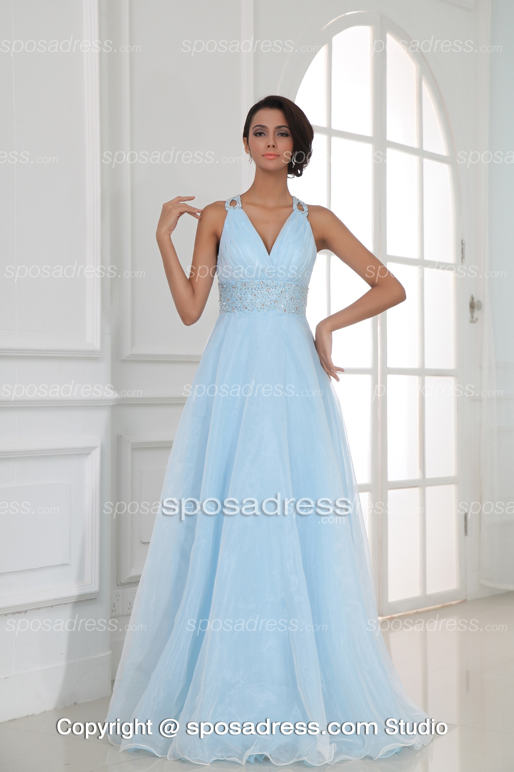 Fairytale V Neckline Sequined Light Sky Blue Organza Evening Gown - Sposadress.com