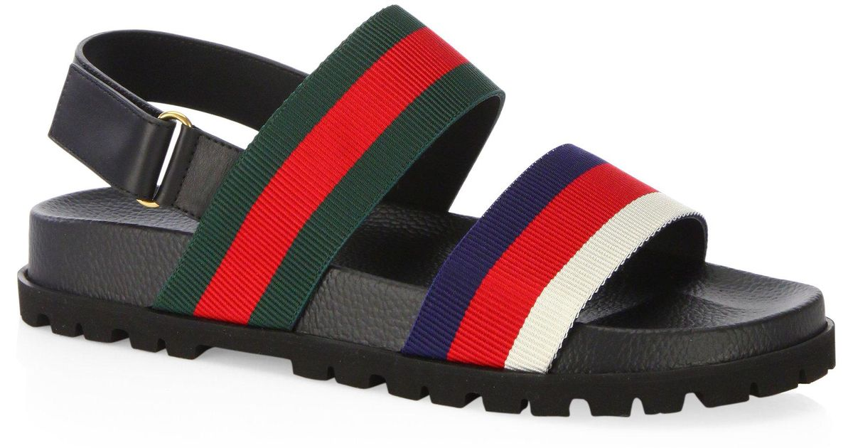 07e2b5d28 Gucci - Multicolor Rimini Leather Double Strap Sandals - Lyst