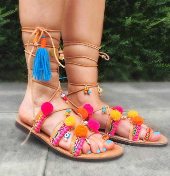 3663b85aca732 Gladiator Bohemian Pom Pom Sandals Lace up Sandals / Summer Ethnic  Sandals/Handmade Decorated Greek Leather Sandals