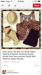 hat,boots,ankle boots,khaki,lace up,leopard print,crop tank,fedora