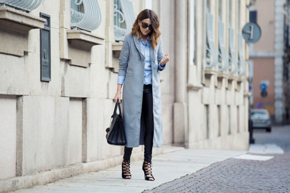 blue shirt sunglasses blogger scent of obsession bag long coat lace-up shoes