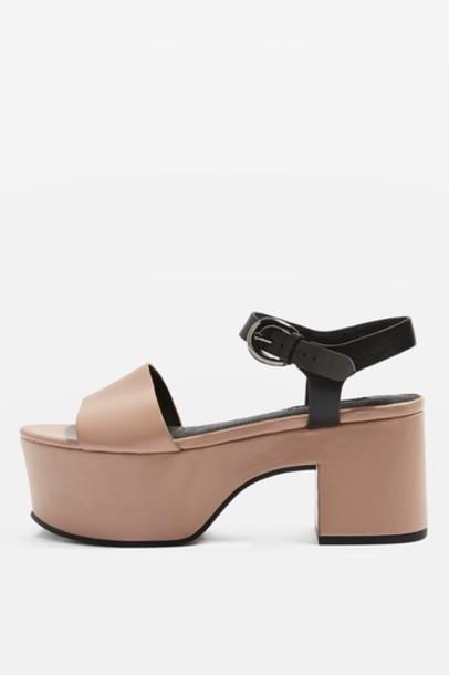 Topshop sandals flatform sandals nude shoes