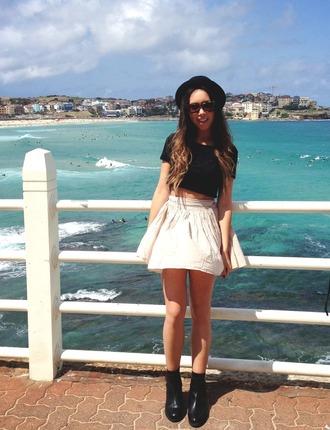 skirt white skirt fashion beach clothes bowler hat black shirt bikini boots black boots combat boots crop tops ombre bleach dye shirt hat