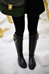 shoes,boots,knee high boots,wellington,buckles,flat boots,black leather boots,black,wellies,black boots,autumn boots,fall outfits,bag,classy,black boots with gold buckles,black riding boots,black and gold,gold buckled boots,riding boots,winter boots,winter outfits,clothes,outfit,style,fashion,dark,gold