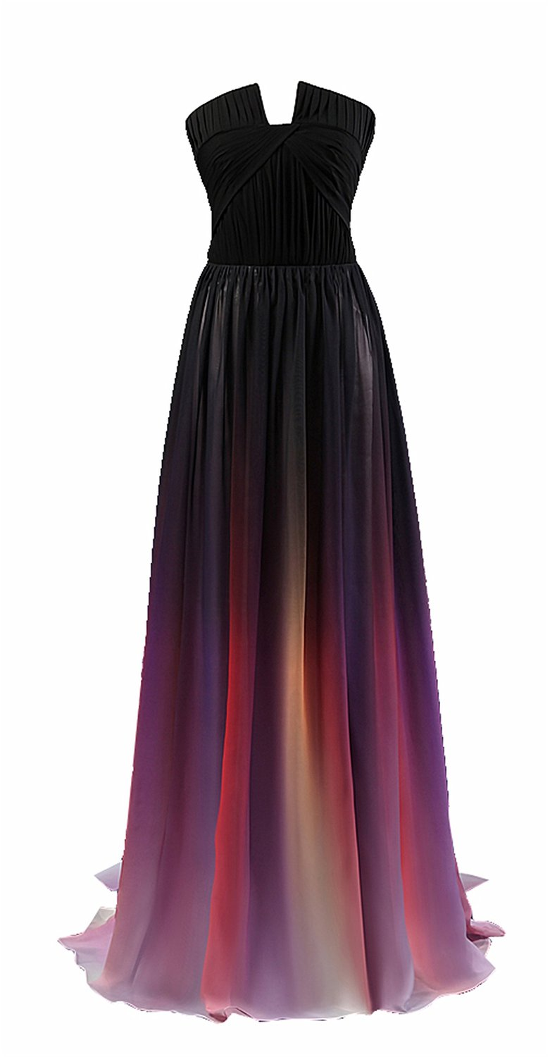 L'ivresse Women's Ombre Colorful Chiffon Sweetheart Long Evening Dress at Amazon Women's Clothing store: