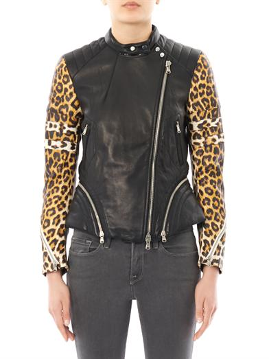 Leopard-print sleeve leather biker jacket | 3.1 Phillip Lim | ...