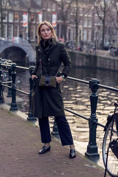 Coat Tumblr Green Coat Pants Black Pants Winter Work Outfit