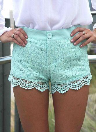 shorts mint crochet shorts lace shorts lace overlay mint shorts