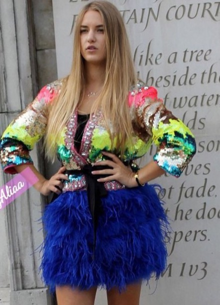 coat dress feather dress feathers sequin dress sequins colorful colorblock