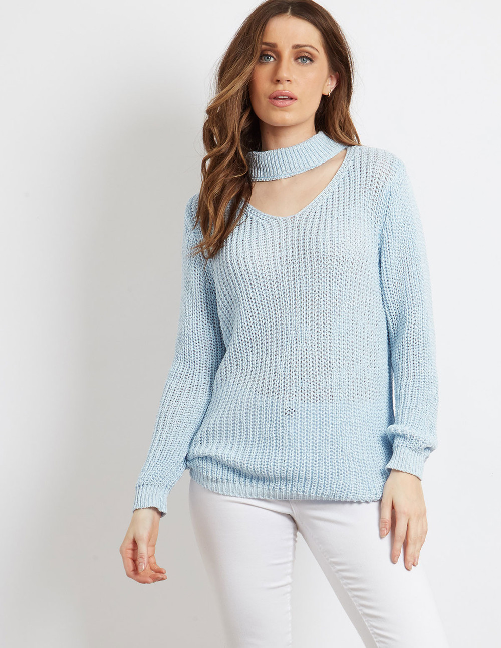 Blue Vanilla KARI - Blue Choker Knit Jumper