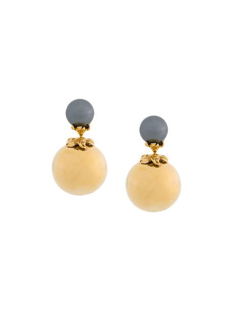 Kasun London women pearl earrings stud earrings gold silver grey metallic jewels