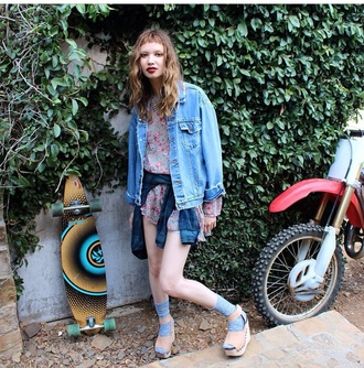 denim jacket indie grunge unif instagram hipster denim jacket clogs