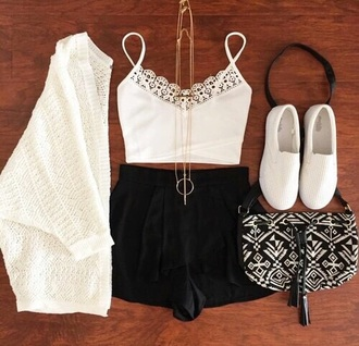 blouse cardigan white shoes white top black purse black shorts