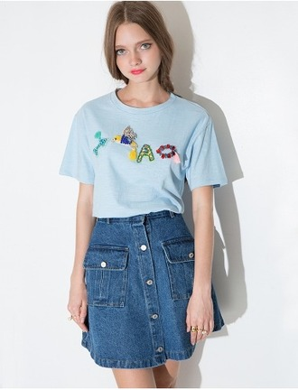 t-shirt tees cute sequins sequined top short sleeves summer tee summer top spring top blue powder blue pixie market pixie market girl hummingbird