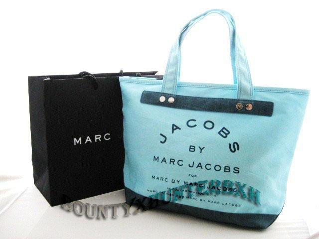Marc jacobs seafoam canvas zipper tote bag handbag new