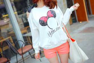shirt too cute minnie mouse mickey and minnie tee mickey mouse disney disneyland cute bow tie bow off the shoulder off the shoulder sweater casual bow t shirt colorful bright funny shorts sweater sweatshirt urban cute