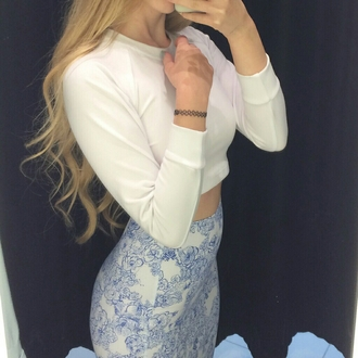 skirt blue white pencil skirt floral