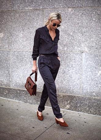 shirt tumblr pajama style pants matching set co ord shoes mules bag jw anderson bag brown bag