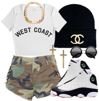 shorts army army green shorts top t-shirt jewels hat shoes sunglasses