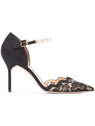 women pumps leather black silk shoes