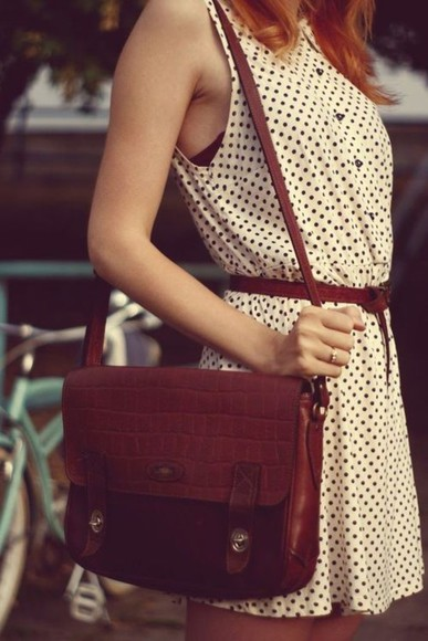 dress sundress summer polka dots polka dots dress pretty fashion brown bag satchel bag