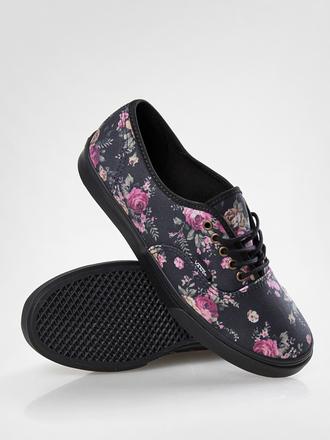 shoes vans floral black roses