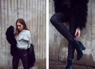 kenza blogger sweater pants jacket belt jewels shoes