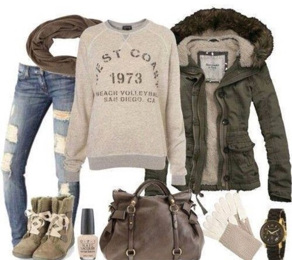 brown shoes scarf jacket bag abercrombie & fitch ripped jeans brown bag west coast
