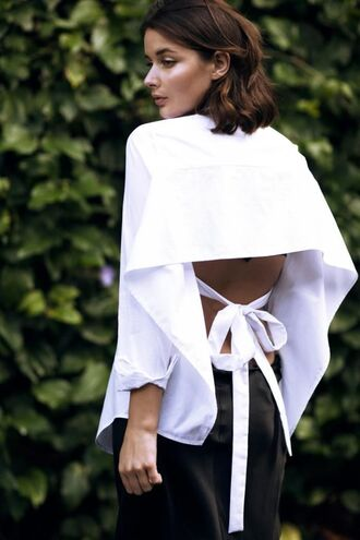 shirt white open back shirt sexy shirt black trousers blogger date outfit