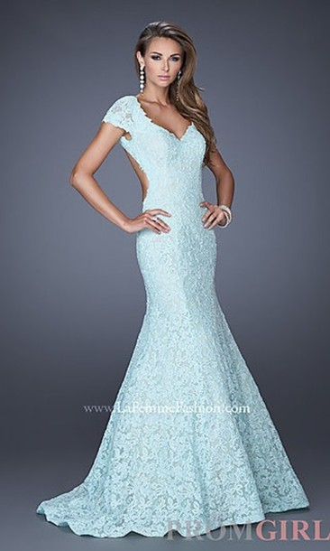 Dress: blue lace dress, lace, blue dress, prom dress, long prom ...