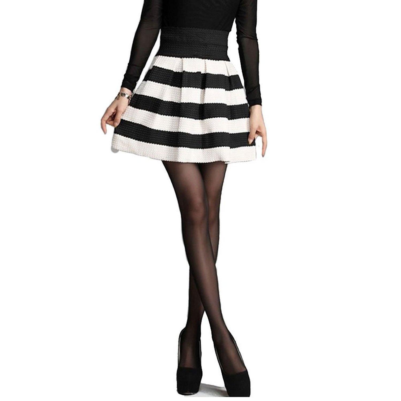 Amazon.com: Imixcity Women Girls Stretch Waist Flared Plain Casual Mini Skater Skirt (Black White): Clothing